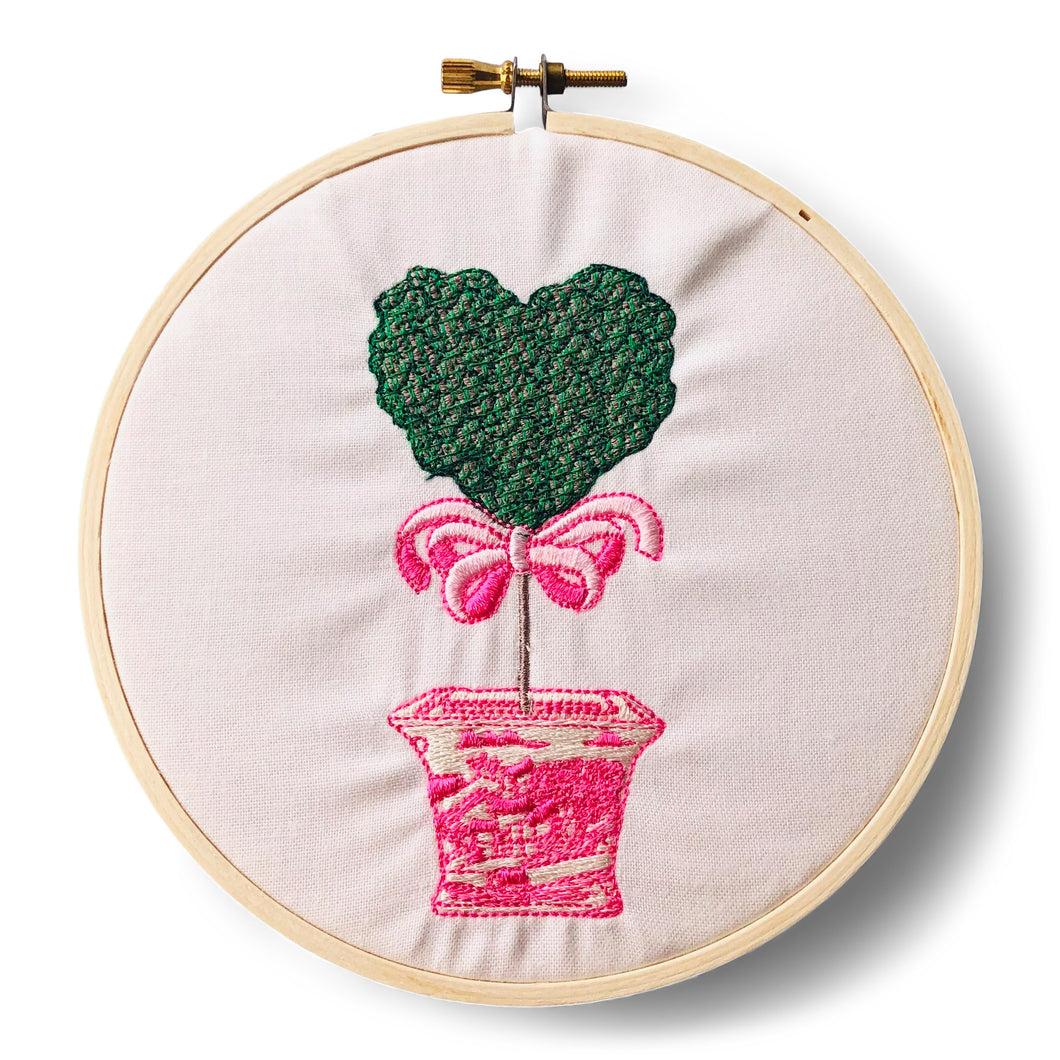 Ornament - Heart Topiary in Pink Pot