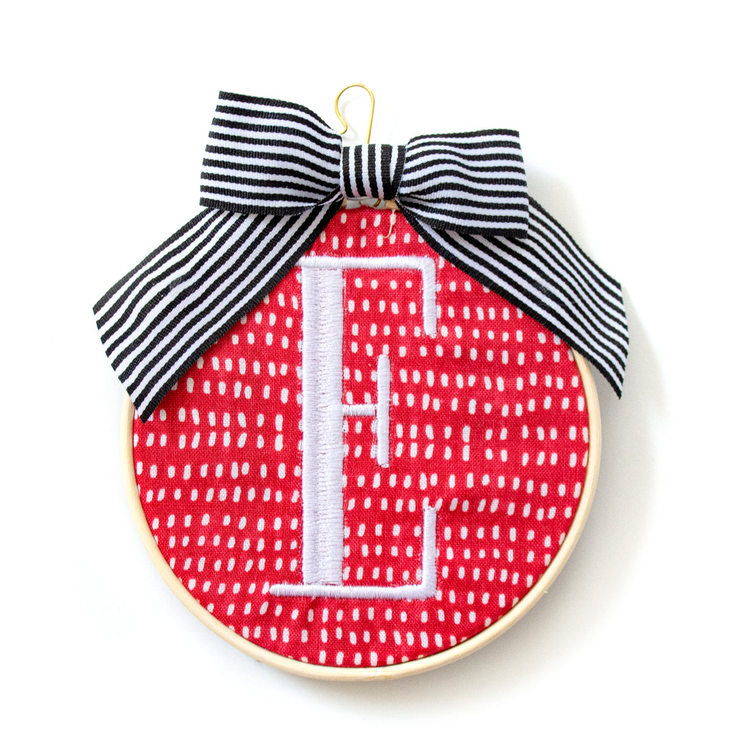 Ornament - Monogram White on Red