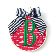 Load image into Gallery viewer, Ornament - Monogram White on Red