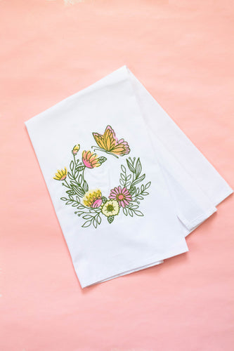 Butterfly Wreath Spring Dish Towel