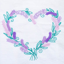 Load image into Gallery viewer, Lavender Wreath Heart Dish Towel
