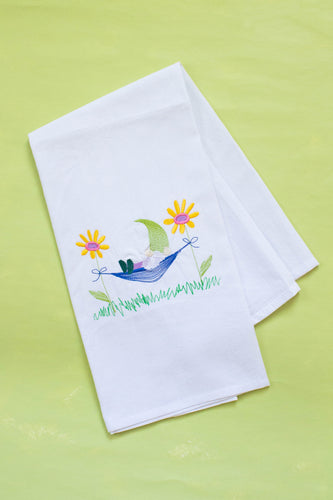 Gnome in Flower Hammock Dish Towel