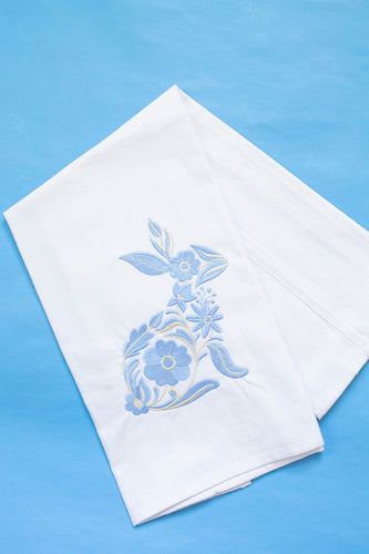 Blue Bunny Spring Easter Dish Towel