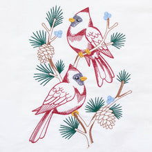 Load image into Gallery viewer, Cardinals in Pine Tree Branch Dish Towel