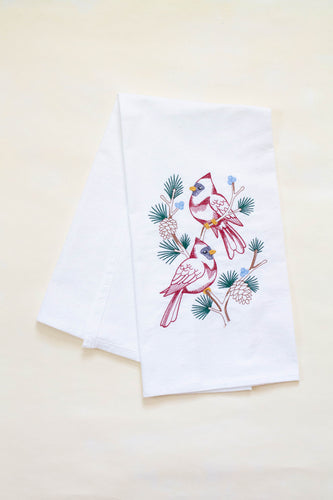 Cardinals in Pine Tree Branch Dish Towel