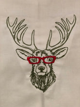 Load image into Gallery viewer, Deer Reindeer with Glasses Towel