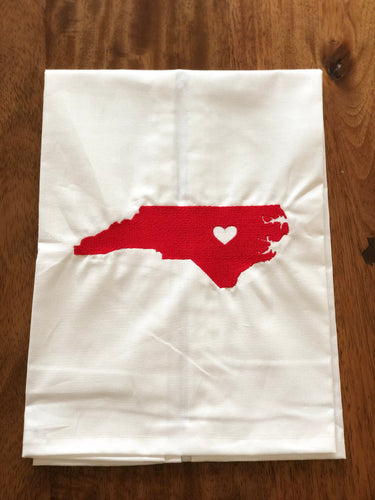North Carolina Home Towel - White with Red State