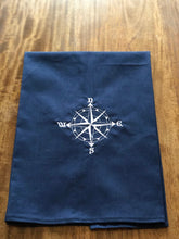 Load image into Gallery viewer, Navy Nautical Beach Compass Towel