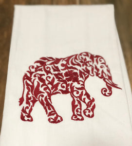 Elephant in Maroon Red Towel