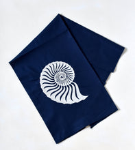 Load image into Gallery viewer, Navy Nautical Beach Shell Towel