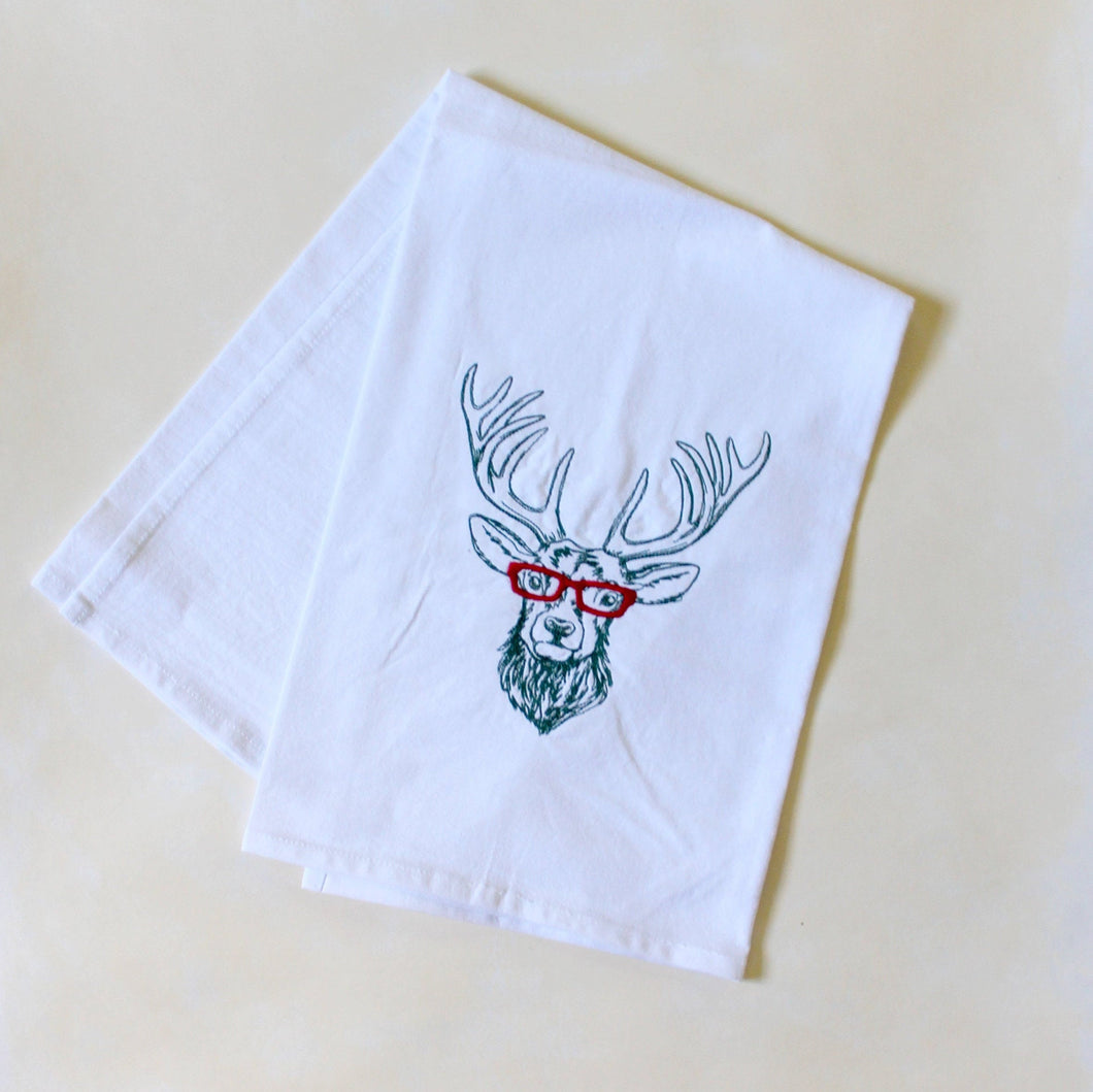 Deer Reindeer with Glasses Towel