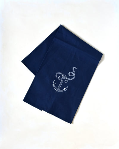 Navy Nautical Beach Anchor Towel