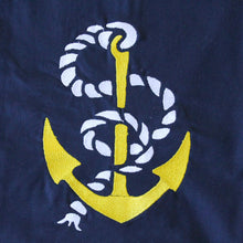 Load image into Gallery viewer, Navy Nautical Yellow With Rope Anchor Towel