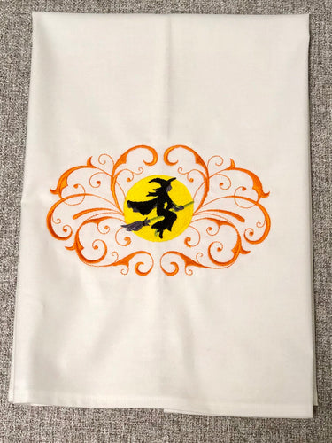 Halloween Witch Riding Broom Towel