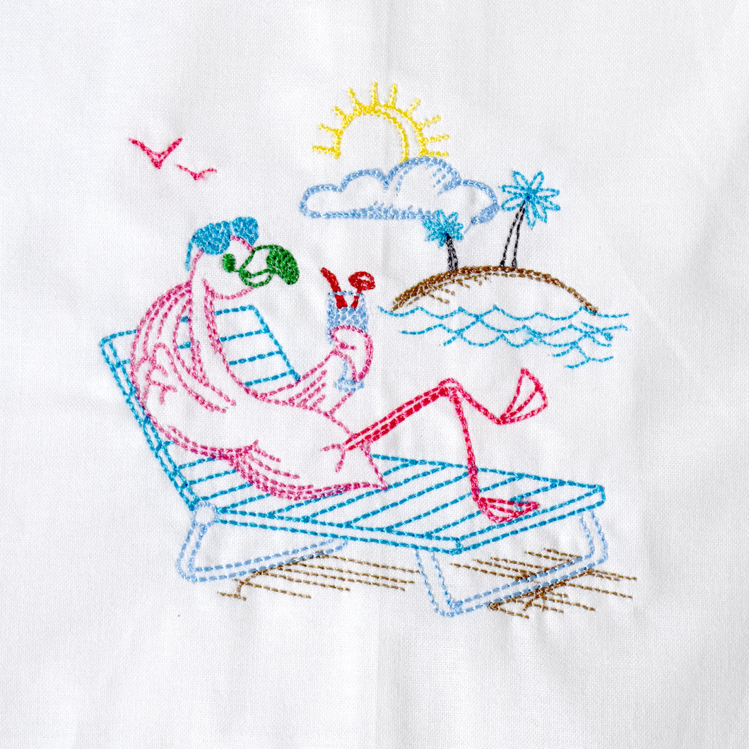 Flamingo on Island Living Towel