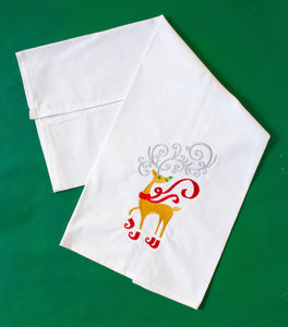 Reindeer in Elf Boots Christmas Towel