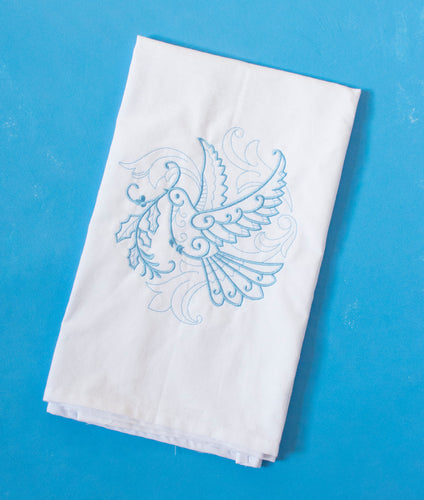 Dove with Olive Branch Christmas Holiday Towel