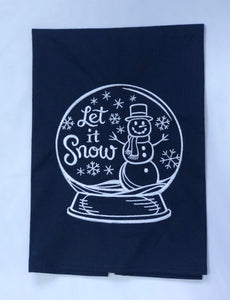Snowman in Snowglobe Let It Snow Winter Holiday Towel