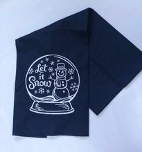 Load image into Gallery viewer, Snowman in Snowglobe Let It Snow Winter Holiday Towel
