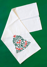 Load image into Gallery viewer, Holly Poinsettia Christmas Bell Towel