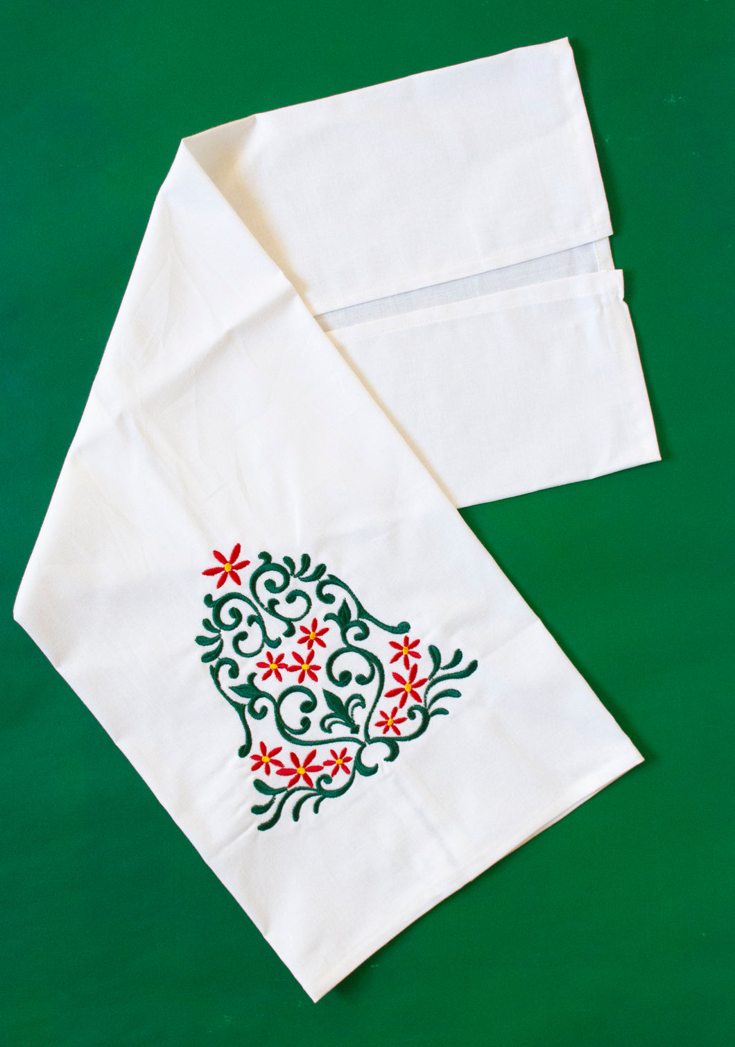Holly Poinsettia Christmas Bell Towel