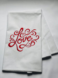 Valentine's Love Message in Red Dish Towel