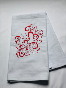 Valentine's Heart Swirls in Red Dish Towel