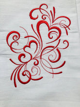Load image into Gallery viewer, Valentine's Heart Swirls in Red Dish Towel