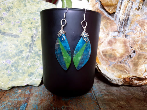 Intricately wire wrapped Blue Apatite and Serpentine intarsia earrings