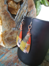 Load image into Gallery viewer, Intricately wire wrapped Yellow Opal, Pink Opal, Jasper, Labradorite intarsia earrings