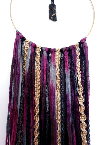 Unique Funky Black, Purple and Gold Dreamcatcher with Black Tourmaline