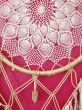 Load image into Gallery viewer, Stunning intricate macrame dreamcatcher in golden and creamy tones with natural Lemon Citrine