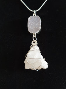 Clear Quartz Geode with Agate Druzy Sterling Silver wire wrapped necklace and pendant
