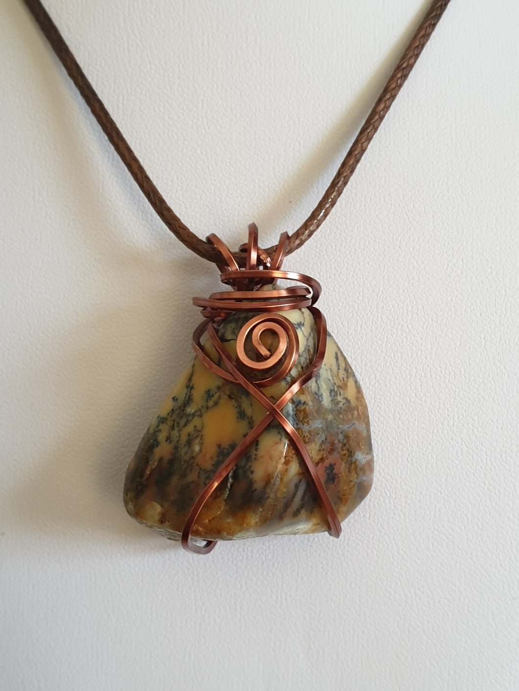 Australian Dendritic Moss Agate (Merlinite) with antique copper wire wrapped pendant