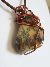Load image into Gallery viewer, Australian Dendritic Moss Agate (Merlinite) with antique copper wire wrapped pendant