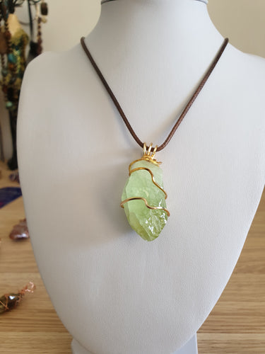 Green Calcite pendant yellow gold plated copper wire wrapped