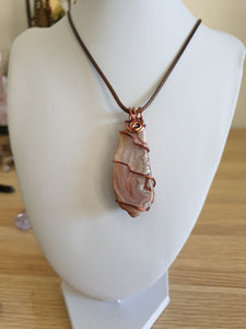 Pretty and pink Australian Agate tumble pendant antique copper wire wrapped