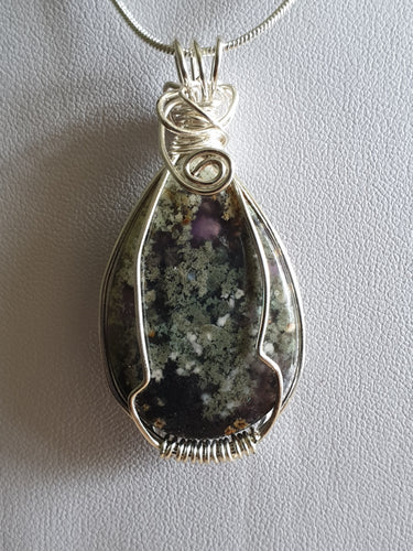 Moss Agate cabochon with stunning moss detail wrapped in sterling silver plated wire