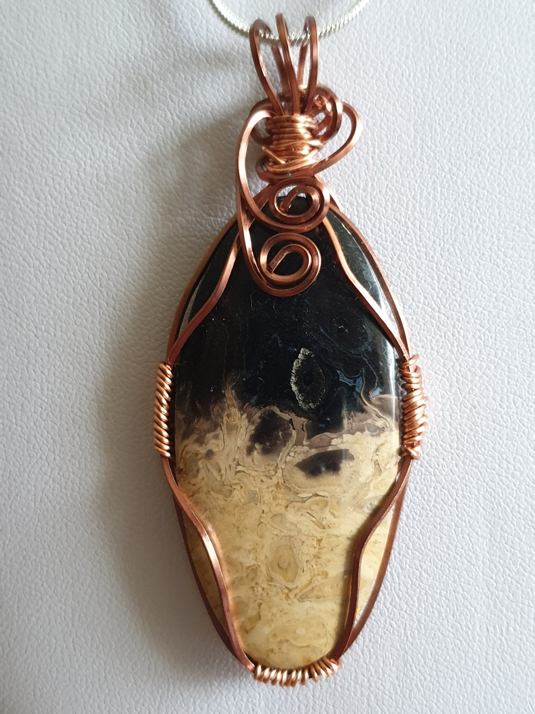Palm Root cabochon pendant wrapped in copper wire (nickel free - hypoallergenic)