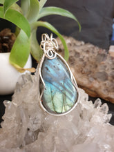 Load image into Gallery viewer, Large Labradorite cabochon with flashy blue/gold colour wrapped in sterling silver