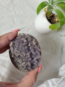 Double-sided Grape Agate egg crystal specimen