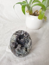 Load image into Gallery viewer, Grape Agate egg crystal specimen with druzy cave