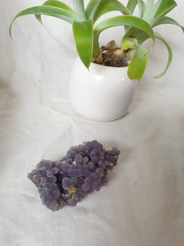 Double-sided sparkly Grape Agate crystal specimen