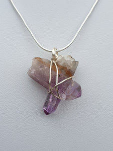 Rare phantom Amethyst/Clear Quartz double point cross pendant from Vera Cruz Mexico wire wrapped in sterling silver