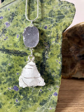 Load image into Gallery viewer, Clear Quartz Geode with Agate Druzy Sterling Silver wire wrapped necklace and pendant