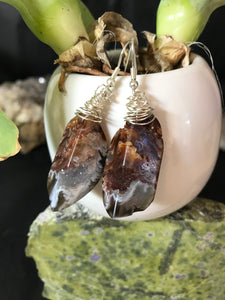 Boho wrapped Agate Nugget Druzy earrings Sterling silver