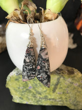 Load image into Gallery viewer, Boho wire wrapped Indonesian Coral Fossil earrings sterling silver