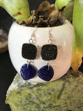 Load image into Gallery viewer, Lapaz Lazuli and Agate druzy earrings Sterling silver