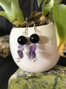 Amethyst & Black Obsidian bead earrings