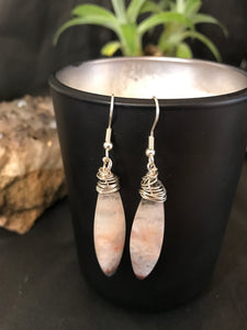 Boho wire wrapped Crazy Lace Agate earrings sterling silver